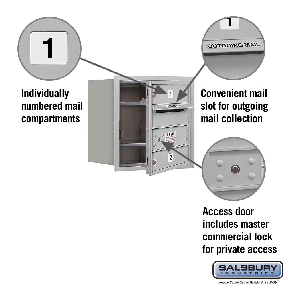 Aluminum Salsbury Industries 3704S-02AFP 4C Horizontal Mailbox