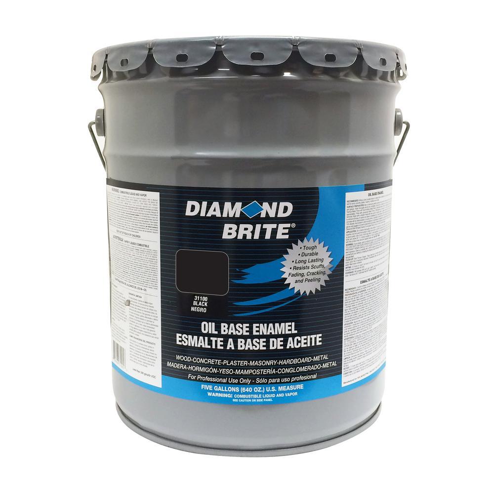 Diamond Brite Paint 5 Gal Black Oil Base Enamel Interior Exterior Paint 31100 5 The Home Depot
