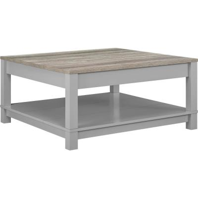 Viola 36 in. Gray/Sonoma Oak Medium Square MDF Coffee Table with Shelf