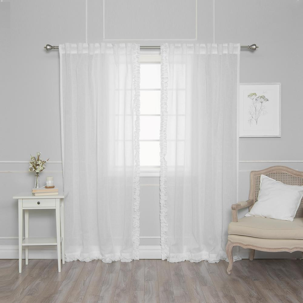 Best Home Fashion 84 In. L White Faux Linen Charleston