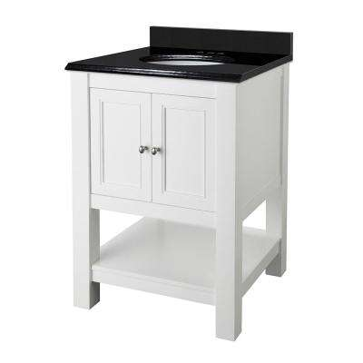 Gazette 25 in. W x 22 in. D Vanity in White with Granite Vanity Top in Black with White Basin