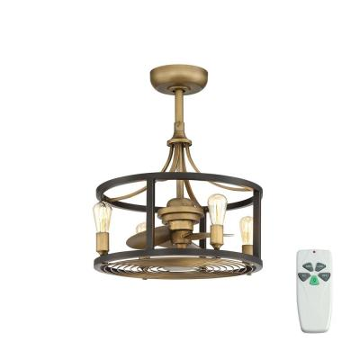 Boswell Quarter Indoor/Outdoor 21.5 in Vintage Brass Dual Mount Ceiling Fan with Light Kit and Remote Control