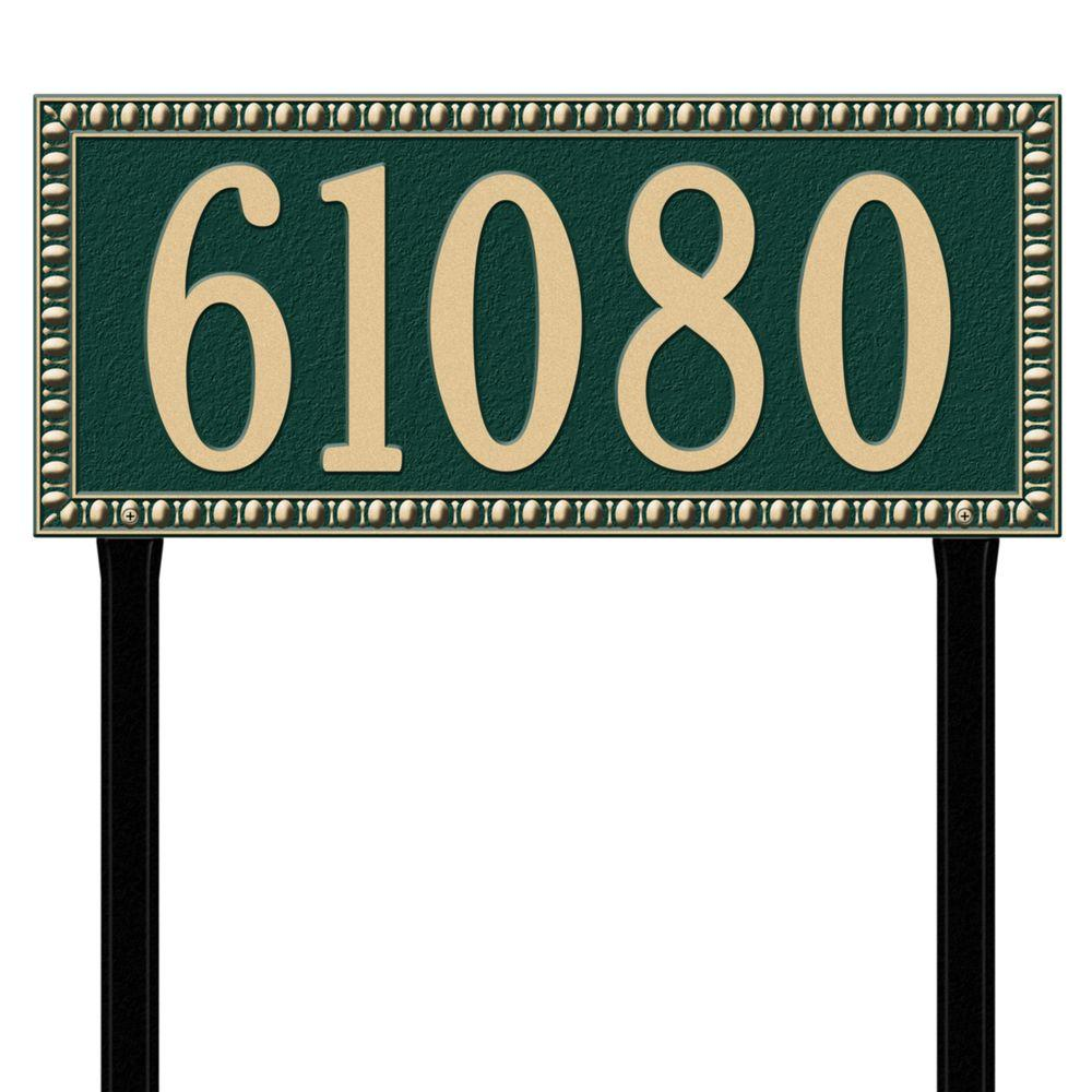Egg and Dart Rectangular Green/Gold Estate Lawn One Line Address Plaque