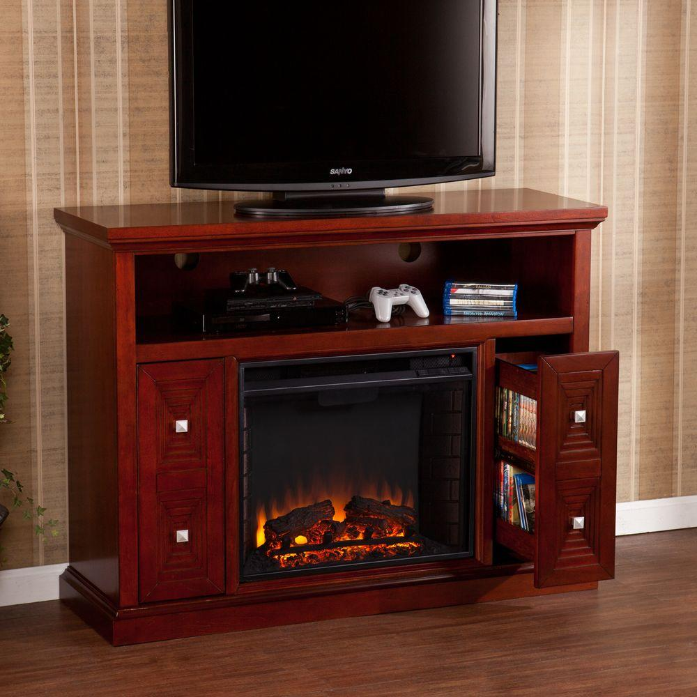 Southern Enterprises Adrian 47.75 in. Freestanding Media Electric Fireplace in Cherry