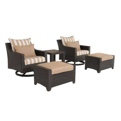 Deco 5-Piece All-Weather Wicker Patio Motion Club and Ottoman Conversation Set with Maxim Beige Cushions
