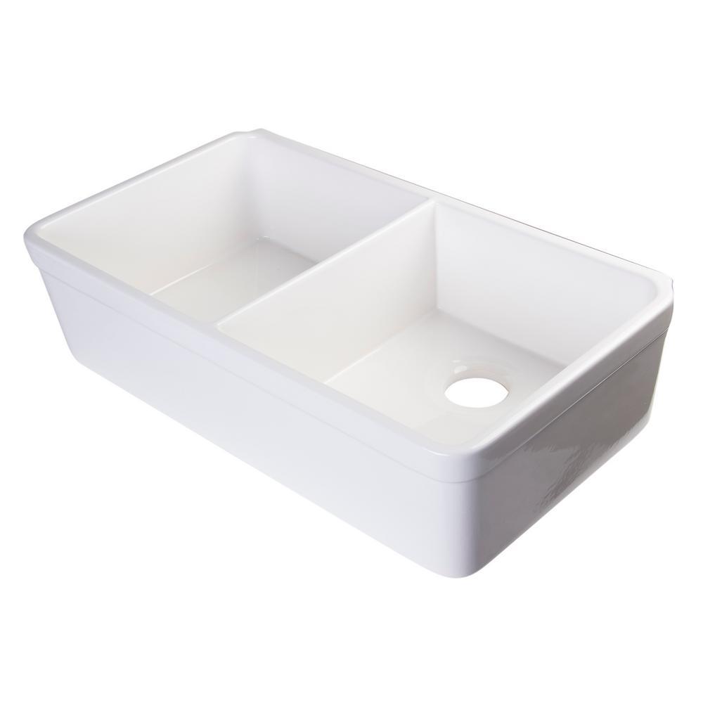 ALFI BRAND Decorative Lip Farmhouse Apron Fireclay 32 in. Double Basin  Kitchen Sink in White