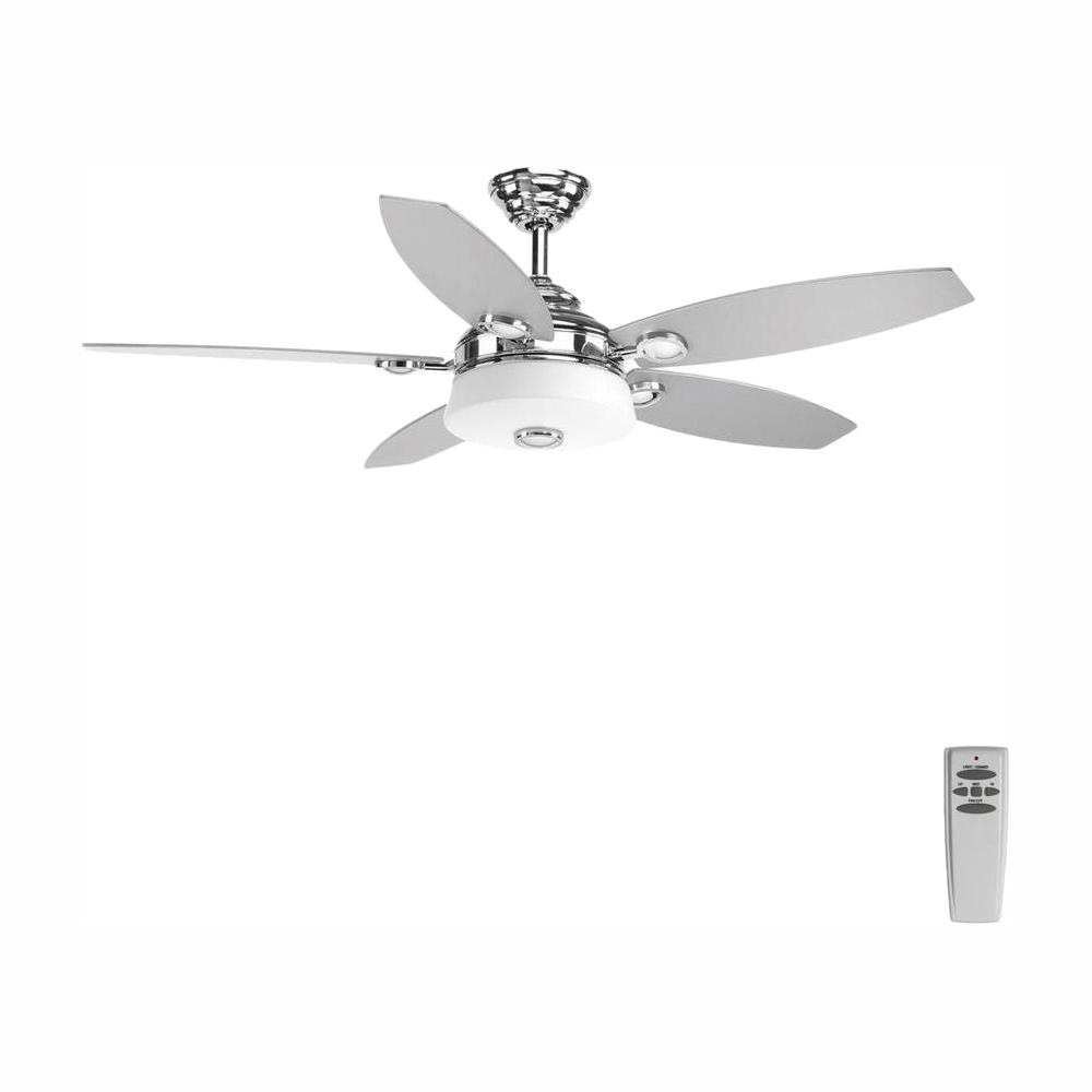Progress Lighting Graceful Collection 54 in. LED Indoor Polished Chrome Modern Ceiling Fan with Light Kit and Remote