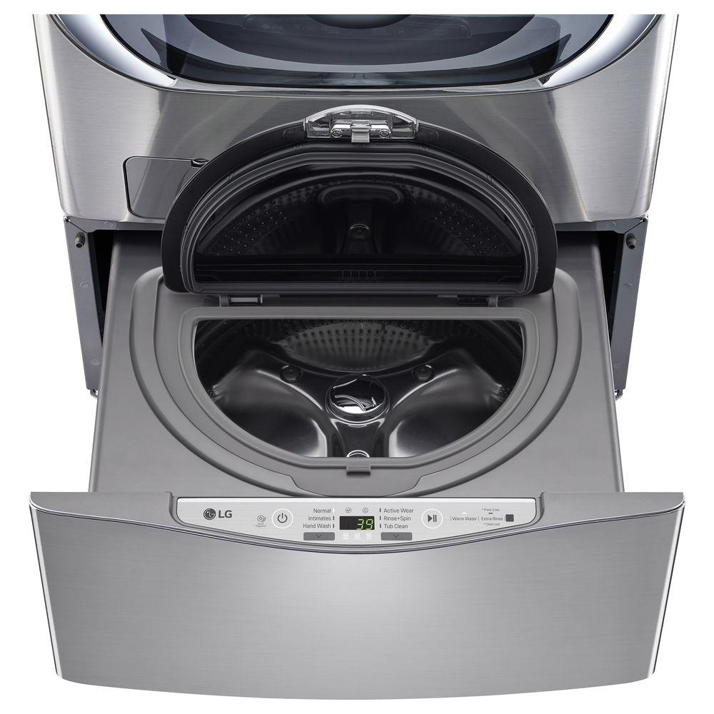LG Electronics 29 in. 1.0 cu. ft. SideKick Pedestal Washer with TWINWash System Compatibility in Graphite Steel