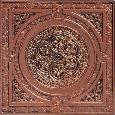 Steampunk 2 ft. x 2 ft. PVC Glue-up or Lay-in Ceiling Tile in Antique Copper