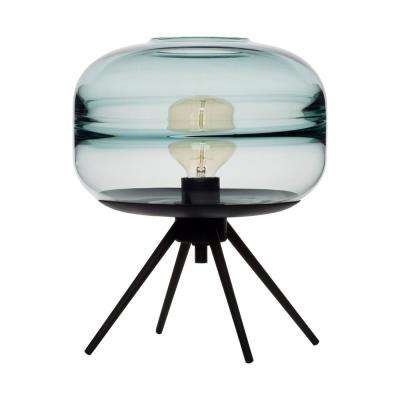 Unique Optic Contemporary 14 in. Black Hand Blown Glass Plug-In Table Lamp with Blue Glass Shade