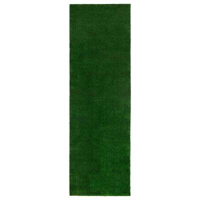 Evergreen Collection Green 20 in. x 59 in. Solid Runner Rug