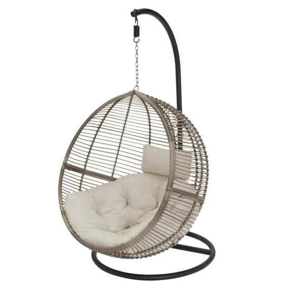 Gray Wicker Round Outdoor Patio Egg Lounge Chair Swing with Biscuit Tan Cushions