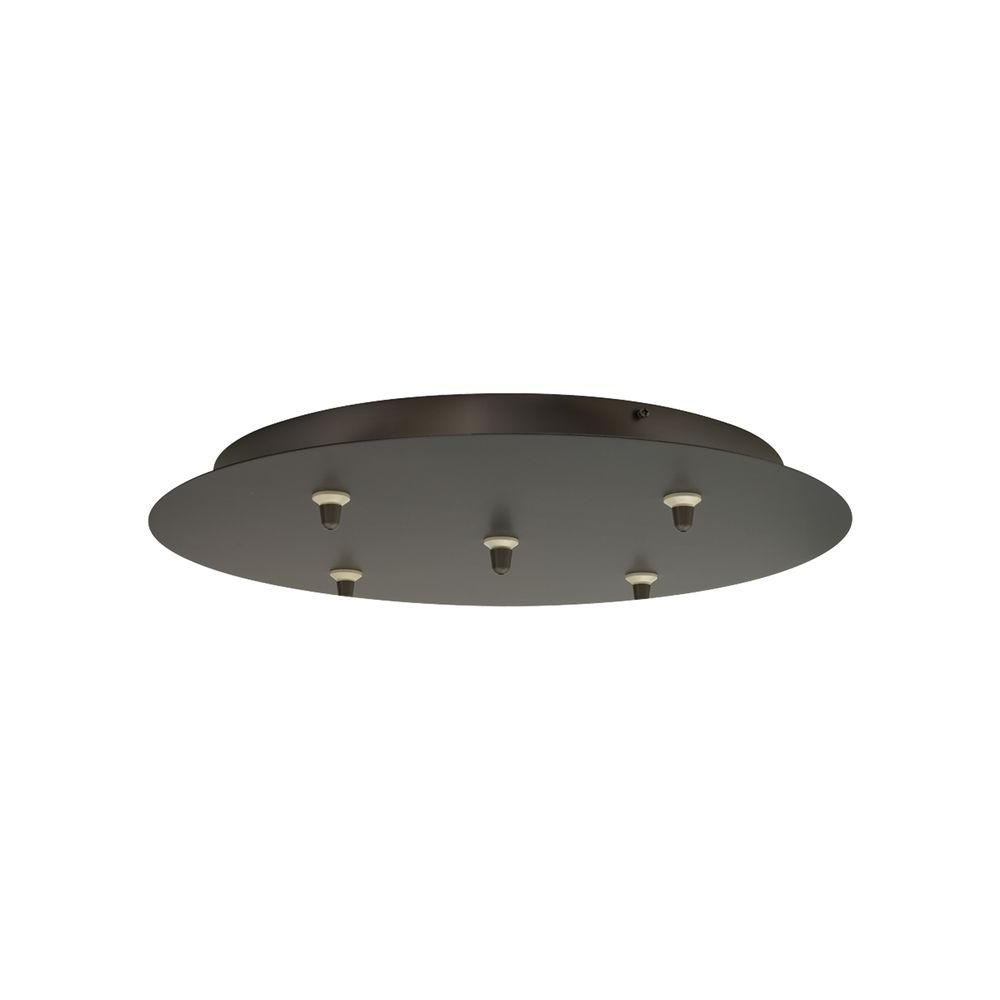 120-Volt 5-Light Round Bronze Line-Voltage Canopy