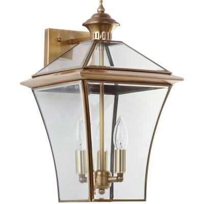 Virginia 10.25 in. 3-Light Brass Sconce with Clear Shade