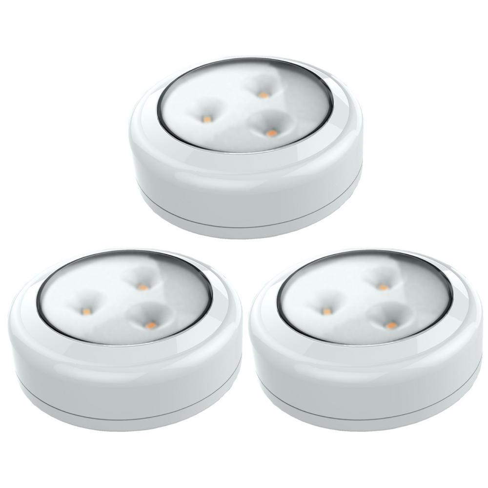 LED White Puck Light (3-Pack)