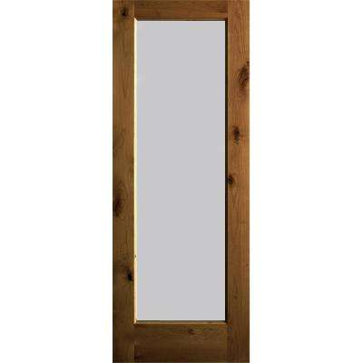 30 in. x 80 in. Rustic Knotty Alder Wood Satin Etch Full-Lite Provincial Stain Left Hand Single Prehung Front Door