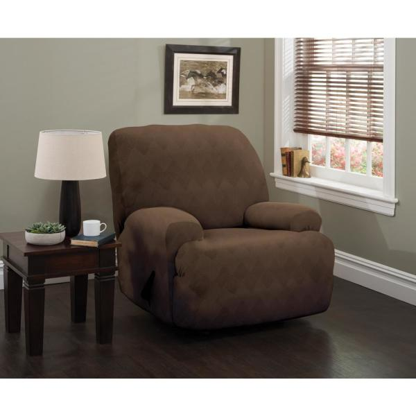 Stretch Sensations Chocolate Optic Jumbo Recliner Stretch Slipcover