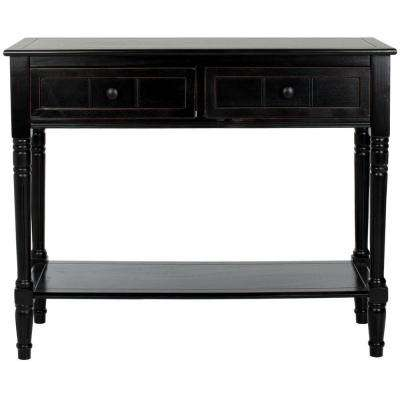 Samantha Distressed Black Storage Console Table