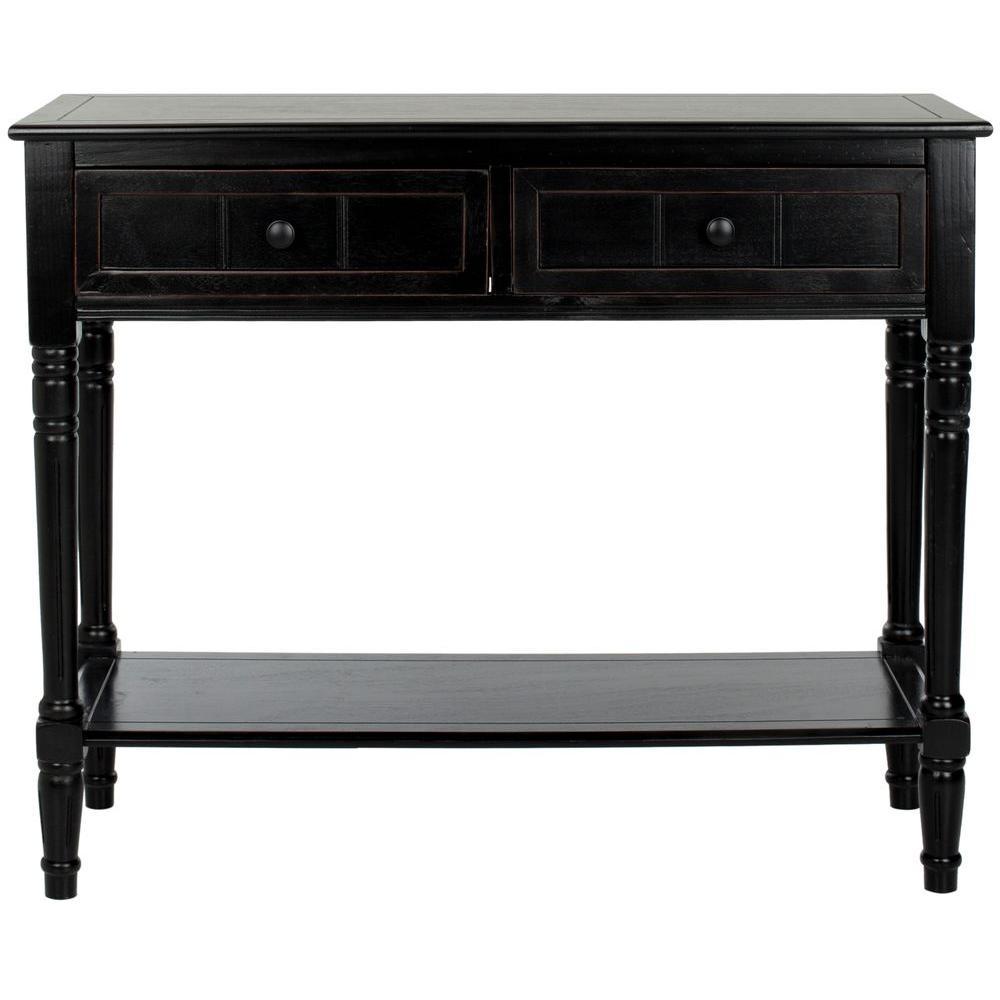 Safavieh Samantha Distressed Black Storage Console Table ...