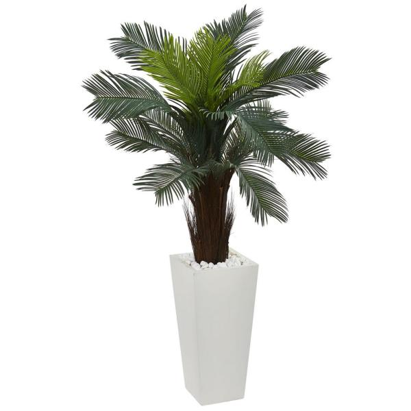 Nearly Natural 4.5 in. Cycas Artificial Plant in White Tower Planter