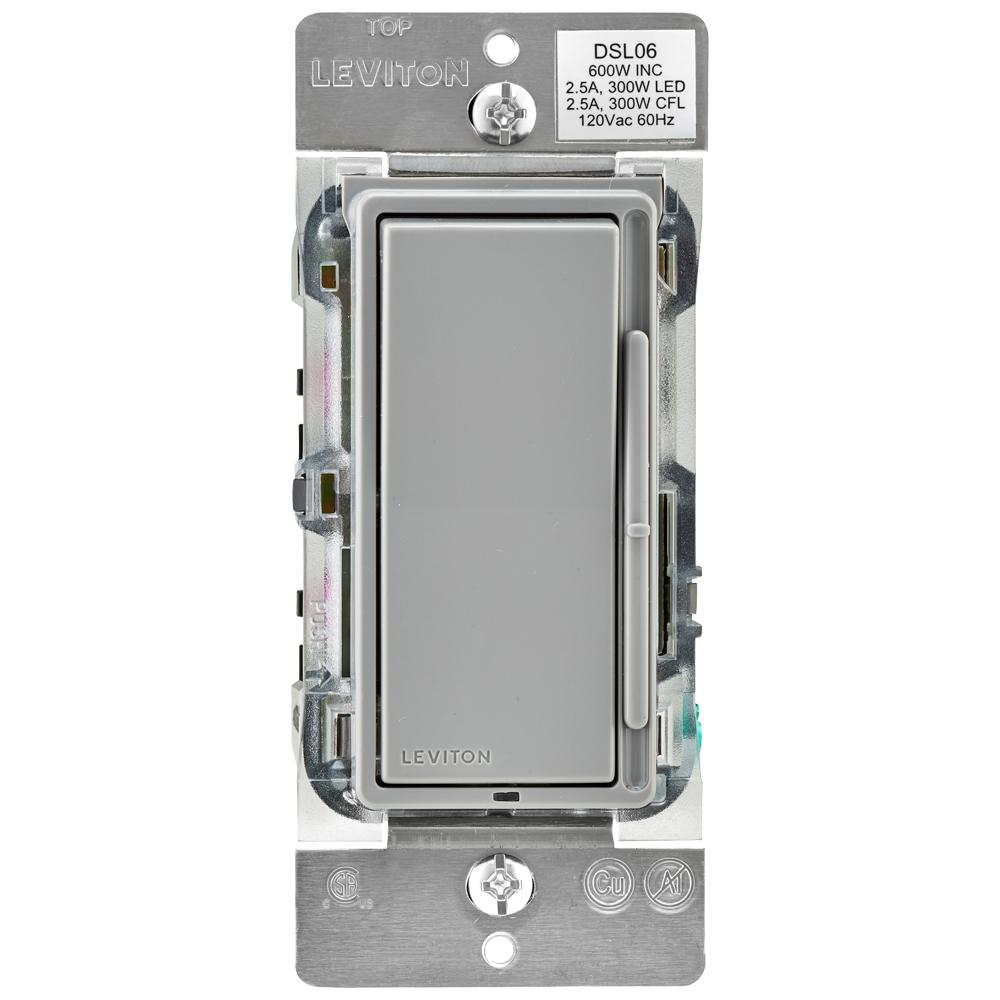 Gray Dimmers Wiring Devices Light Controls The Home Depot Leviton Dimmer Decora 600 Watt Single Pole 3 Way Universal Rocker Slide