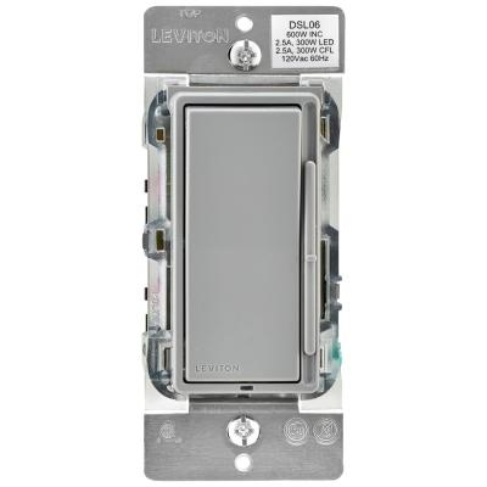 Decora 600-Watt Single-Pole/3-Way Universal Rocker Slide Dimmer, Gray