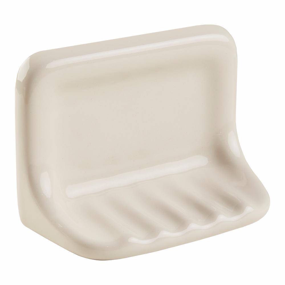 Bathroom Accessories Almond 4-3/4 in. x 6-3/8 in. Soap Dish Wall Accessory