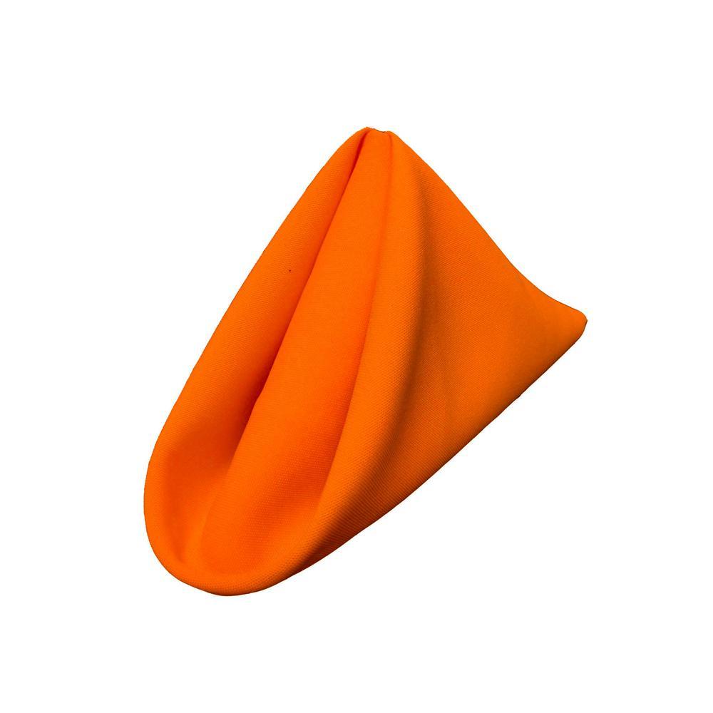 18 in. x 18 in. Orange Polyester Poplin Napkin (10-Pack)