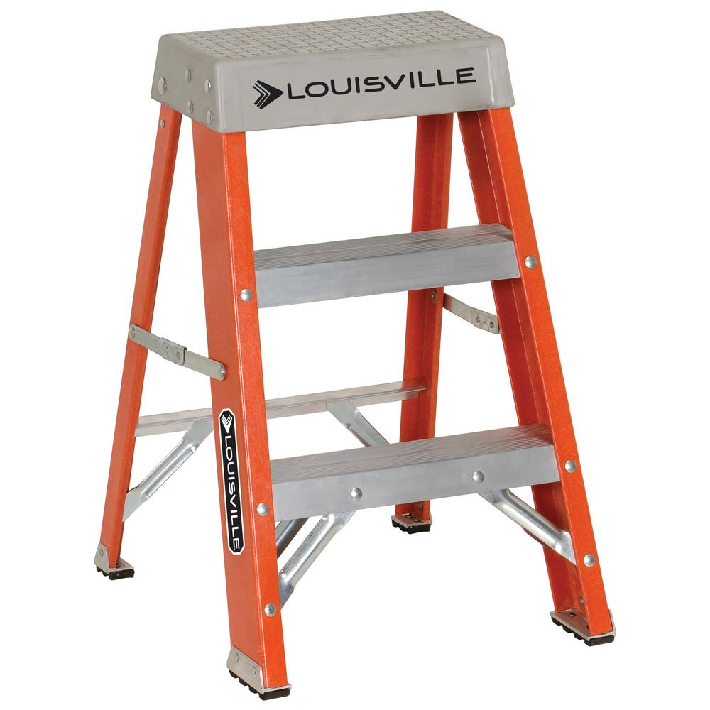 Louisville Ladder 2 ft. Fiberglass Step Ladder with 300 lbs. Load Capacity Type IA Duty Rating