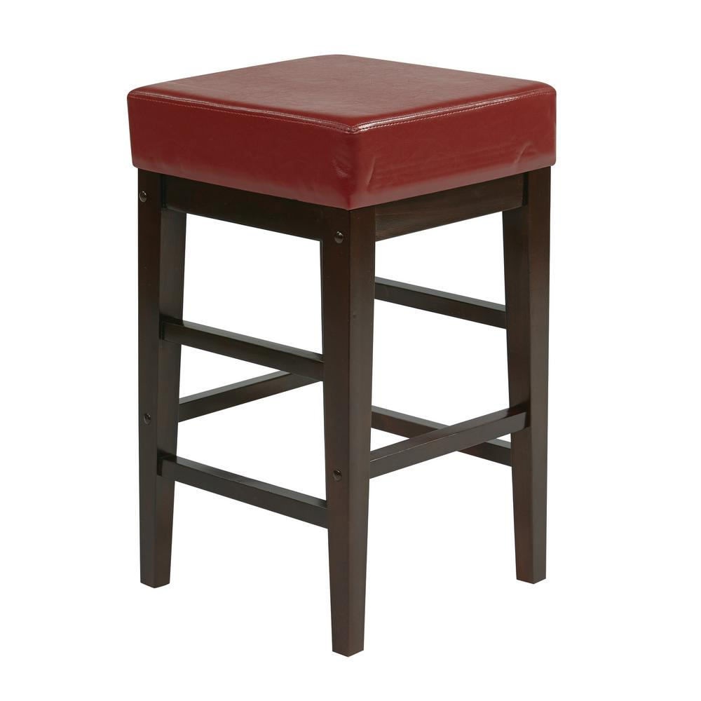 OSP Home Furnishings 25 in. Square Red Faux Leather Barstool with Espresso Legs OSP Home Furnishings 25 in. Square Red Faux Leather Barstool with Espresso Legs