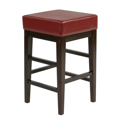 25 in. Square Red Faux Leather Barstool with Espresso Legs