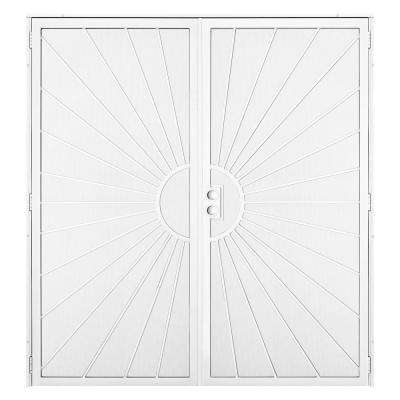 72 in  x 80 in  Solana White Surface Mount Outswing Steel Double Security  Door with Perforated Metal Screen