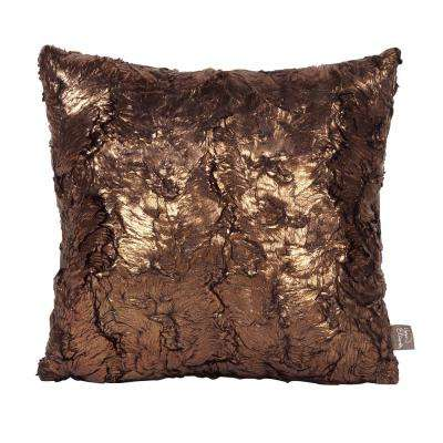 Gold Yellow Cougar 16 in. x 16 in. Decorative Pillow