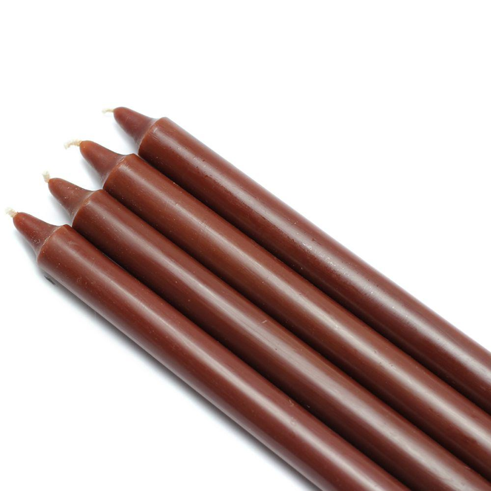 Zest Candle 10 in. Brown Straight Taper Candles (12-Set)