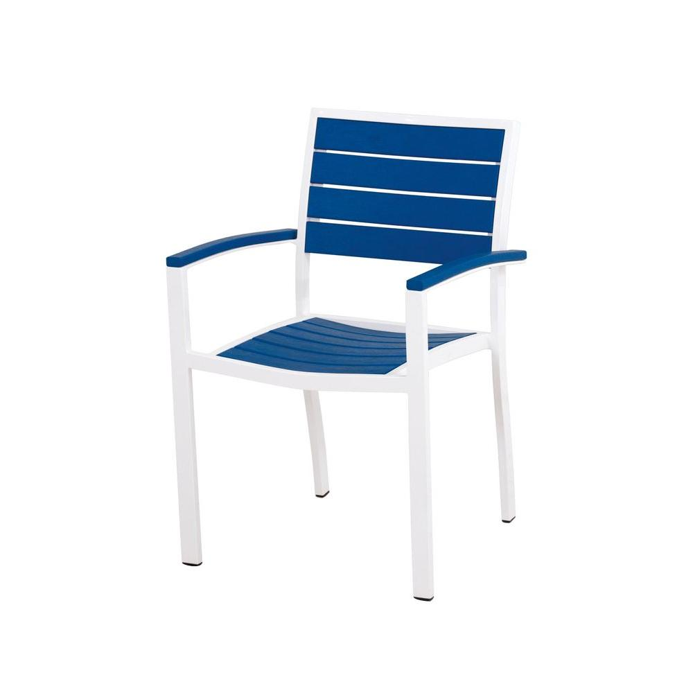 POLYWOOD Euro Satin White/Pacific Blue Patio Dining Arm Chair