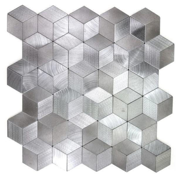 Enchanted Metals Silver Kaleidoscope Mosaic 12 in. x 12 in. Brushed Peel & Stick Wall Tile (0.83 sq. ft.)