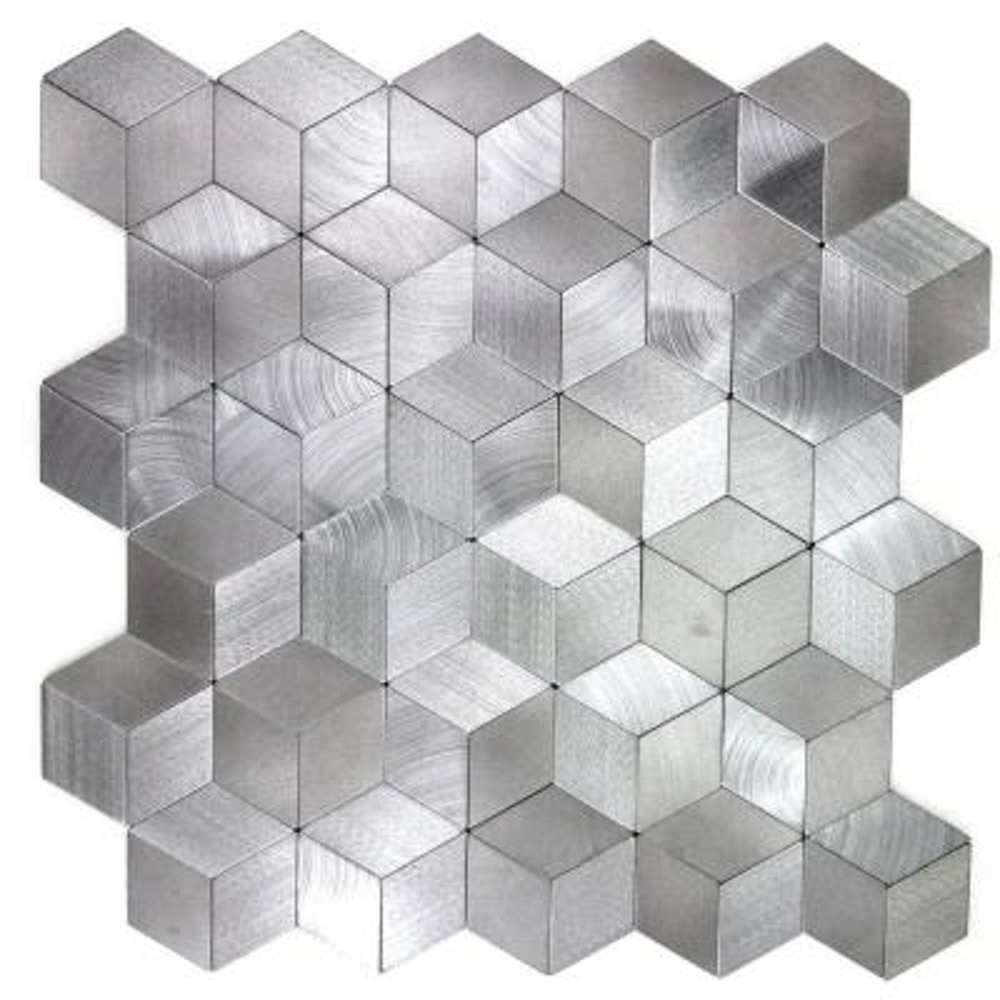 "Mosaic 1"" x 2"" Diamond Silver Gray Brushed Aluminum Peel & Stick Decorative Bathroom Wall Tile Backsplash (1 Sheet)"