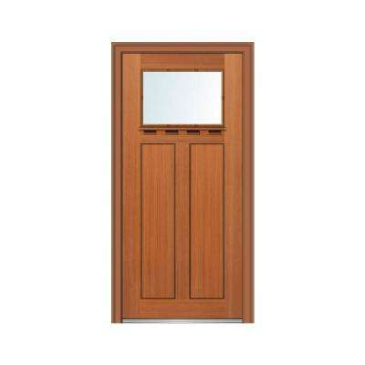 36 in. x 80 in. Left-Hand Inswing 1-Lite Clear Low-E 2-Panel Shaker Stained Fiberglass Fir Prehung Front Door with Shelf