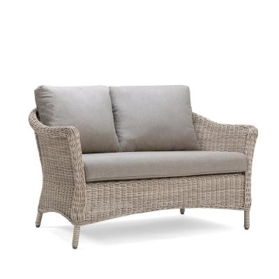 Laurel Weathered Brown Wicker Outdoor Loveseat with Sunbrella Meredian Brick Red Cushions