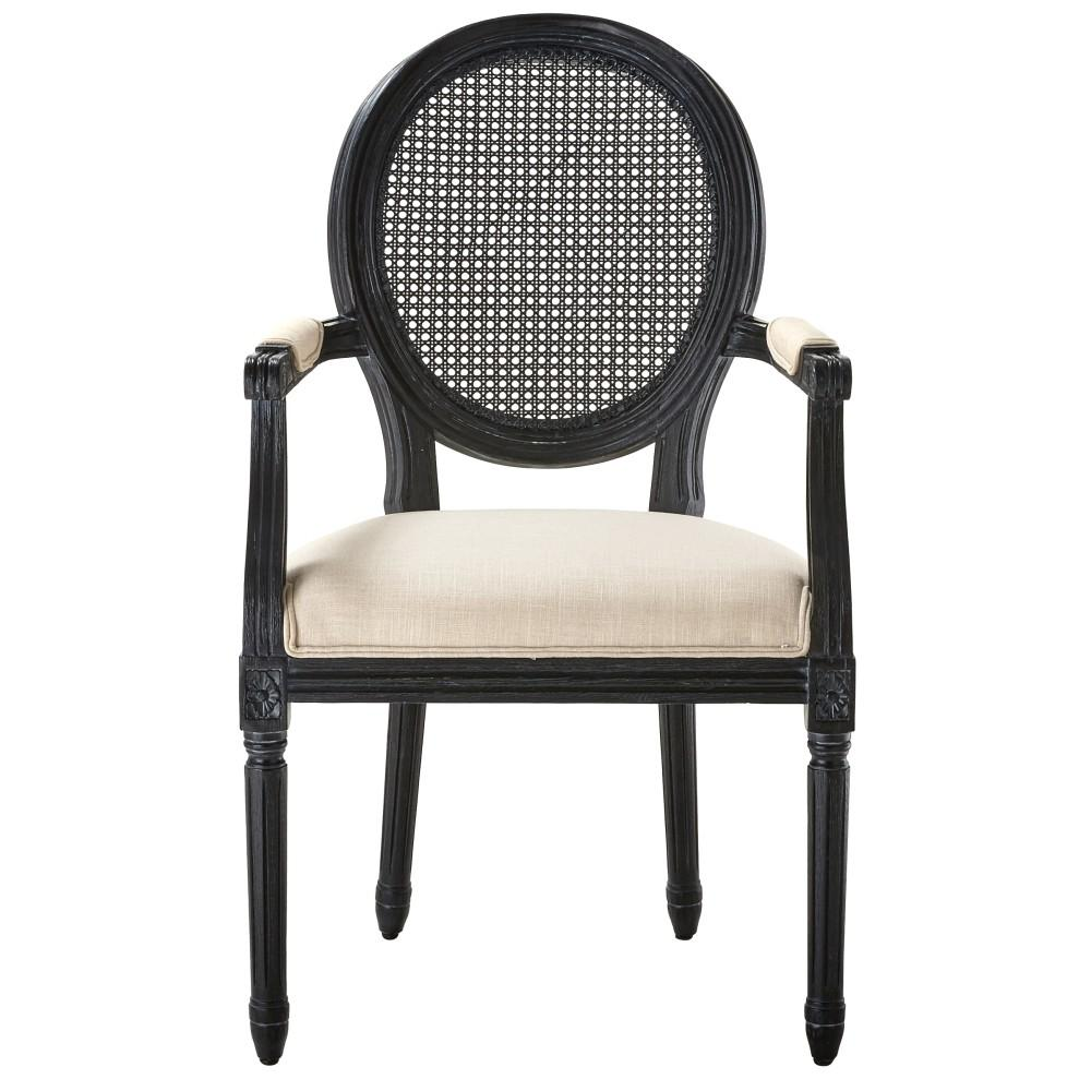 Home Decorators Collection Jacques Antique Black Oval Back Dining Arm Chair