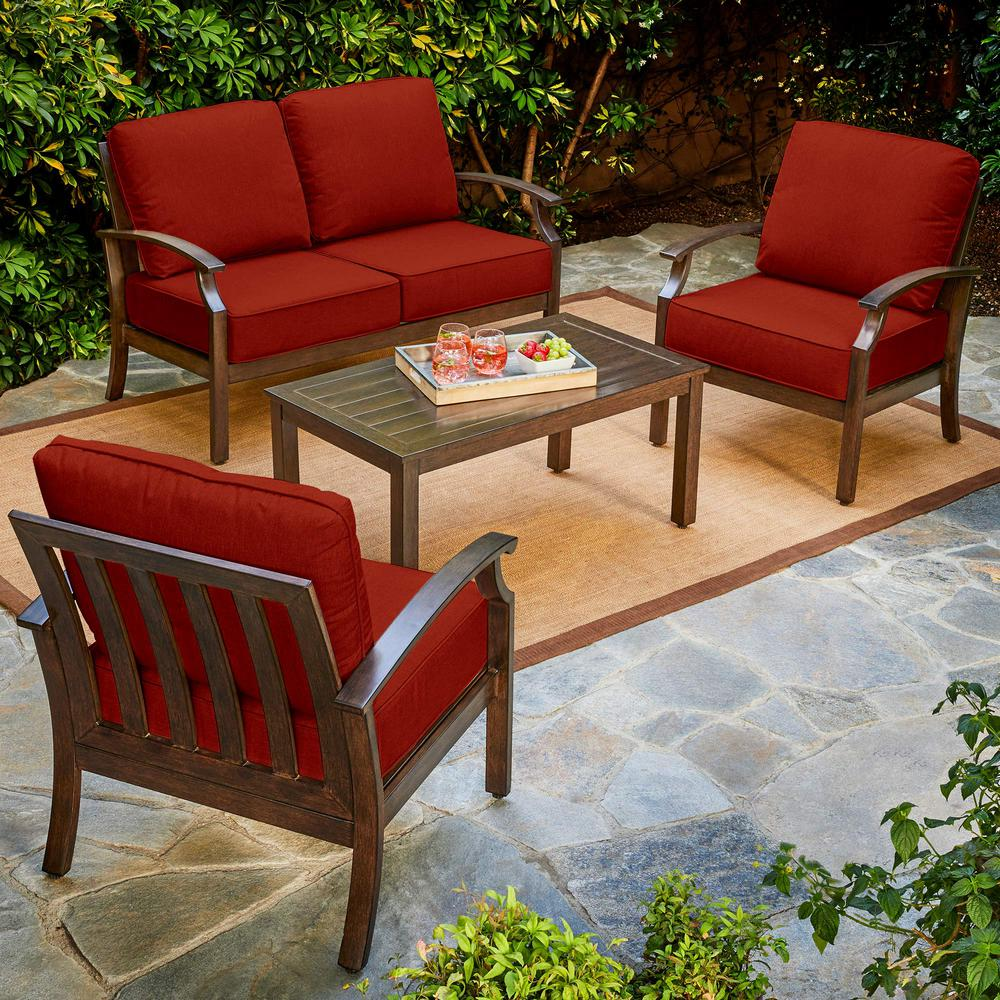 Bridgeport 4-Piece Metal Patio Conversation Set with Red Cushions