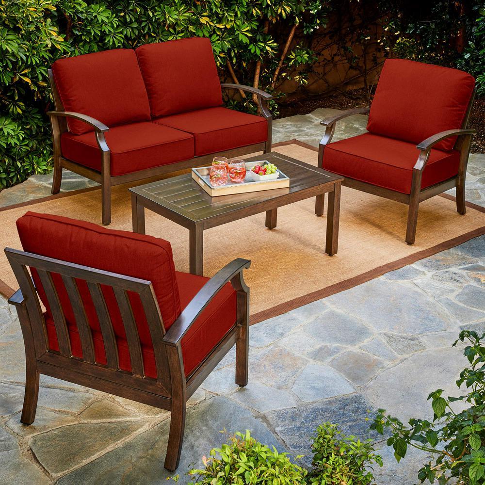 Royal Garden Bridgeport 4-Piece Metal Patio Conversation Set with Red Cushions