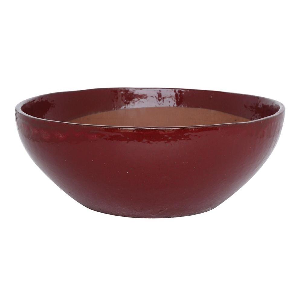 26 in. Red Matte Stoneware Sandhal Low Bowl