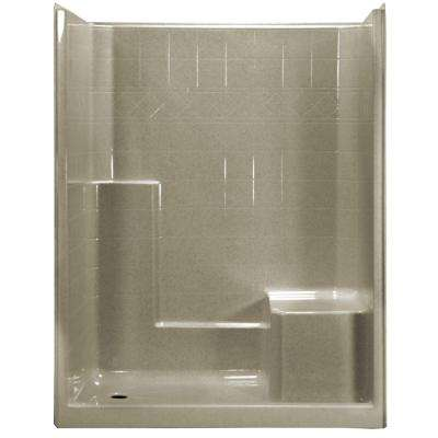 60 in. x 33 in. x 77 in. 1-Piece Low Threshold Shower Stall in Cotton Seed with Molded Seat, Center Drain