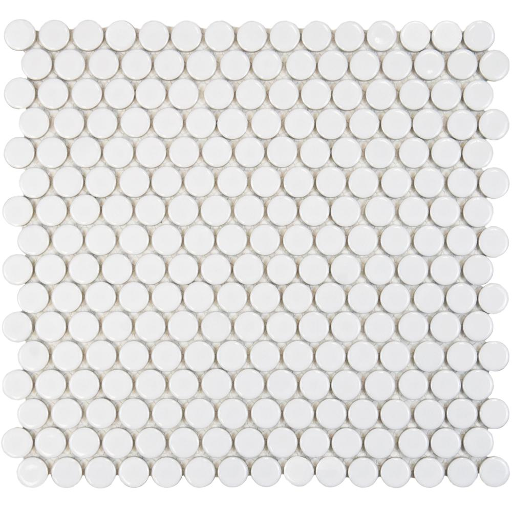 Merola Tile Hudson Penny Round Glossy White 12 In X 5 8 Mm Porcelain Mosaic 10 2 Sq Ft Case Fkompr11 The Home Depot