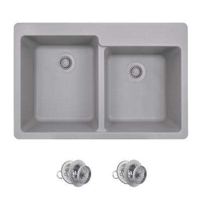 All-in-One Drop-in Granite Composite 33 in. 4-Hole Offset Double Bowl Kitchen Sink in Silver