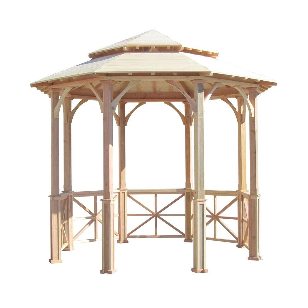 10 ft. Octagon English Cottage Garden Gazebo with Two-Tiered Roof -