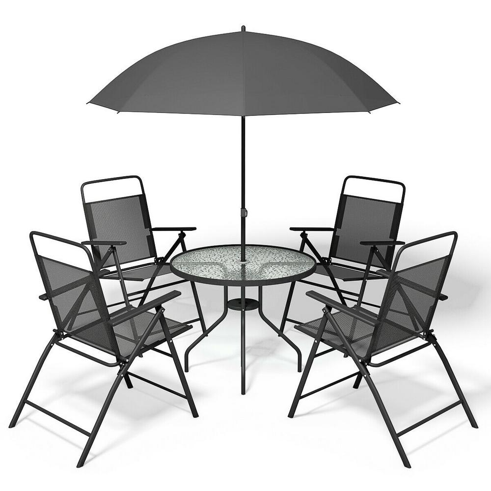 Excellent Costway 6 Piece Steel Garden Patio Conversation Set Furniture With Gray Umbrella And 4 Folding Chairs Table Machost Co Dining Chair Design Ideas Machostcouk