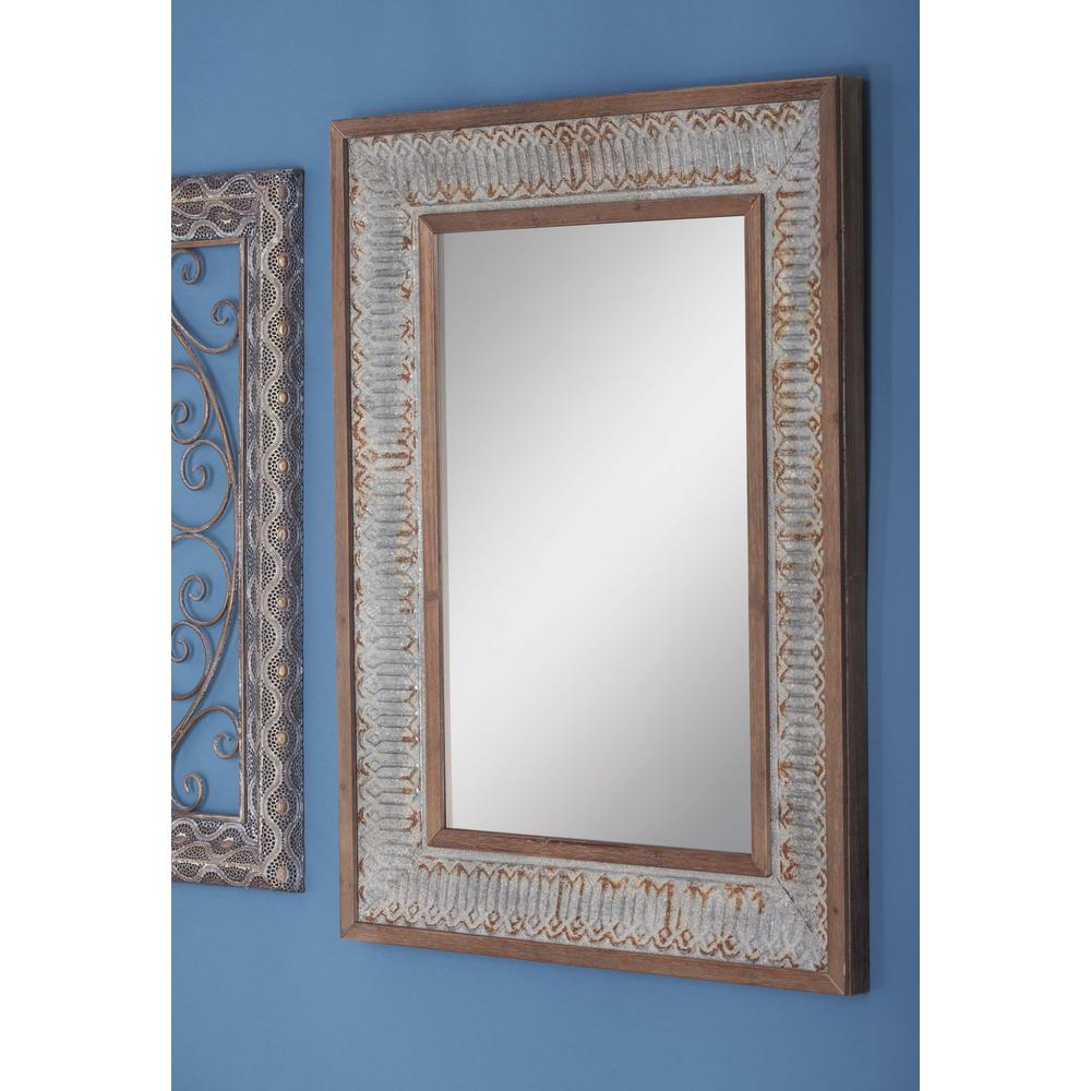 39 in. x 29 in. Rustic Wood and Metal Framed Mirror