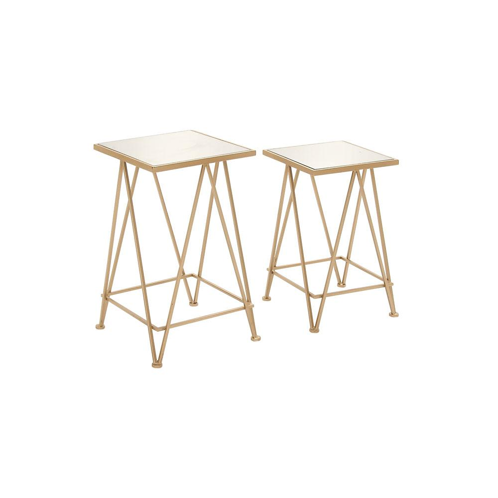 Pale Gold Metal and Aluminum Glass Accent Tables (Set of 2)